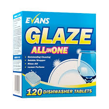 Evans Glaze All In One Dish & Glasswash Tablets. 120 per case