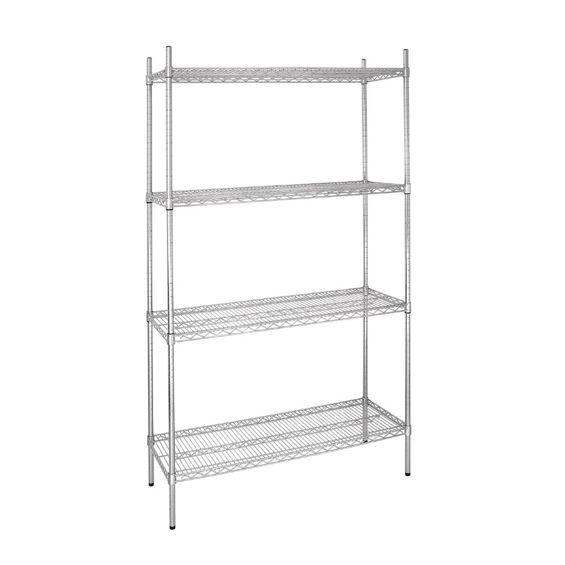 Flat Pack 4 Shelf Unit Chrome Plated 910Wx460Dx1830mmH