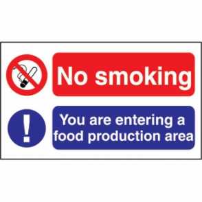 No Smoking Food Production Sign