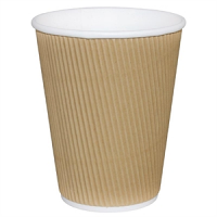 Fiesta Takeaway Coffee Cups Ripple Wall Kraft 8oz (500pp)