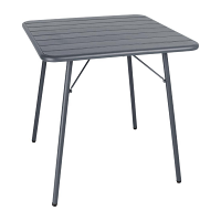 Bolero Slatted Square Steel Table Grey 700mm
