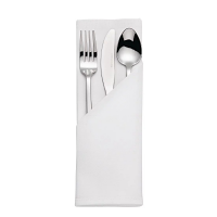 Satin Band Napkins Cotton White