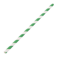Biodegradable Paper Straws Green & White 6mm box of 250