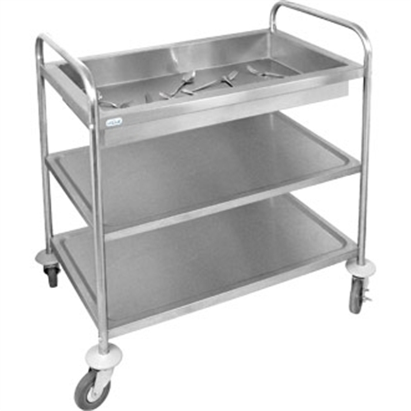 Vogue Deep Tray Clearing Trolley 3 Tier St St