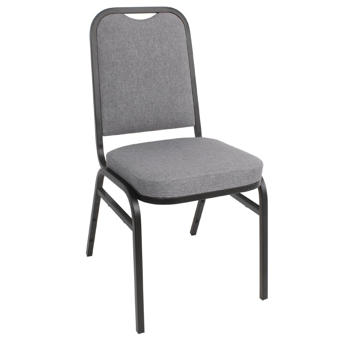 Bolero Steel Banqueting Chair Square Back with Grey Plain Cloth Pack 4
