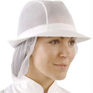 White Trilby Hat with Snood