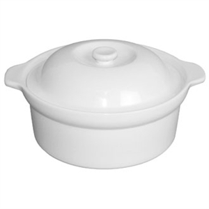 Olympia Whiteware Cookware Handled Round Pot & Lid 90x228x266mm 1.7Ltr (Single)