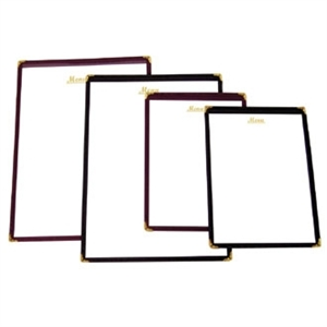 American Style Menu Holder - Burgundy A5 size. Shows four pages.
