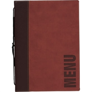 Securit Contemporary Menu Holder Wine Red with 1 Insert A4 - 4 Page