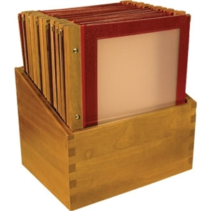 Wooden Spine Menu Holders A4. Colour: Wine red. 20 menu holders with stand box