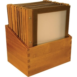 Wooden Spine Menu Holders A4. Colour: Wine brown. 20 menu holders with stand box