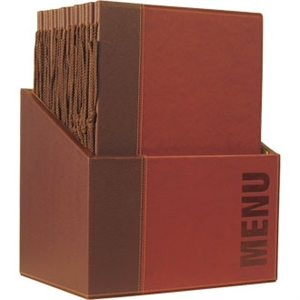 Securit Contemporary Menu Holder Set Wine Red A4 (Pack 20 with Stand Box)