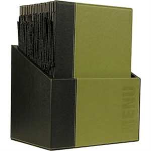 Contemporary Menu Holder Set Green A4 (Pack 20 with Stand Box)