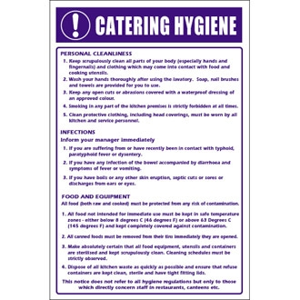 Catering Hygiene Guidelines Sign