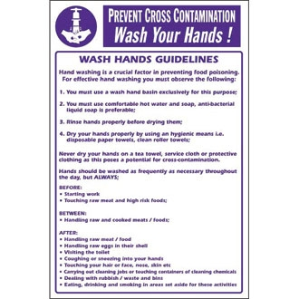 Prevent Cross Contamination Wash Hands Sign
