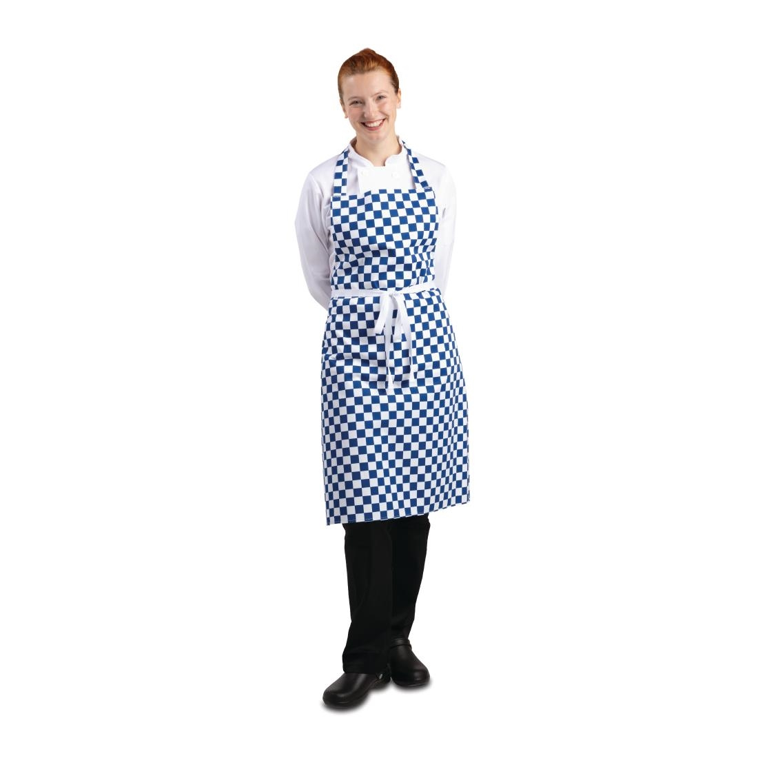 Bib Apron (Blue & White Check)