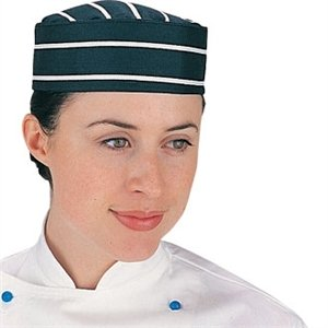Blue & White Butchers Stripe Chefs Skull Cap