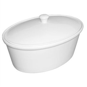 Olympia Whiteware Cookware Oval Pot & Lid - 115x305x220mm 3.2Ltr (Single)
