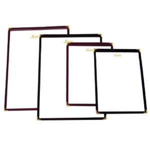 American Style Menu Holder - Burgundy A5 size. Shows two pages.
