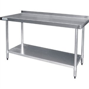 Vogue St/St Wall Table 60mm Upstand - 1200x600mm