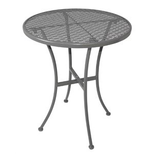 Grey Steel Patterned Round Bistro Table Grey