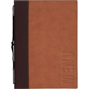 Contemporary Menu Holder - Light Brown. 1 Insert (4 pages)