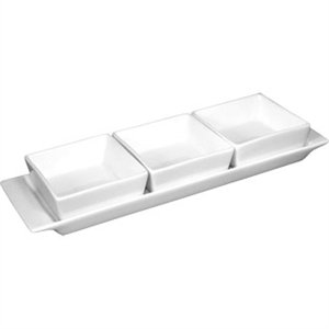 Olympia Whiteware 3 Section Dishes with Plate - 300x90mm 11 3/4x3 1/2 (Box 2)