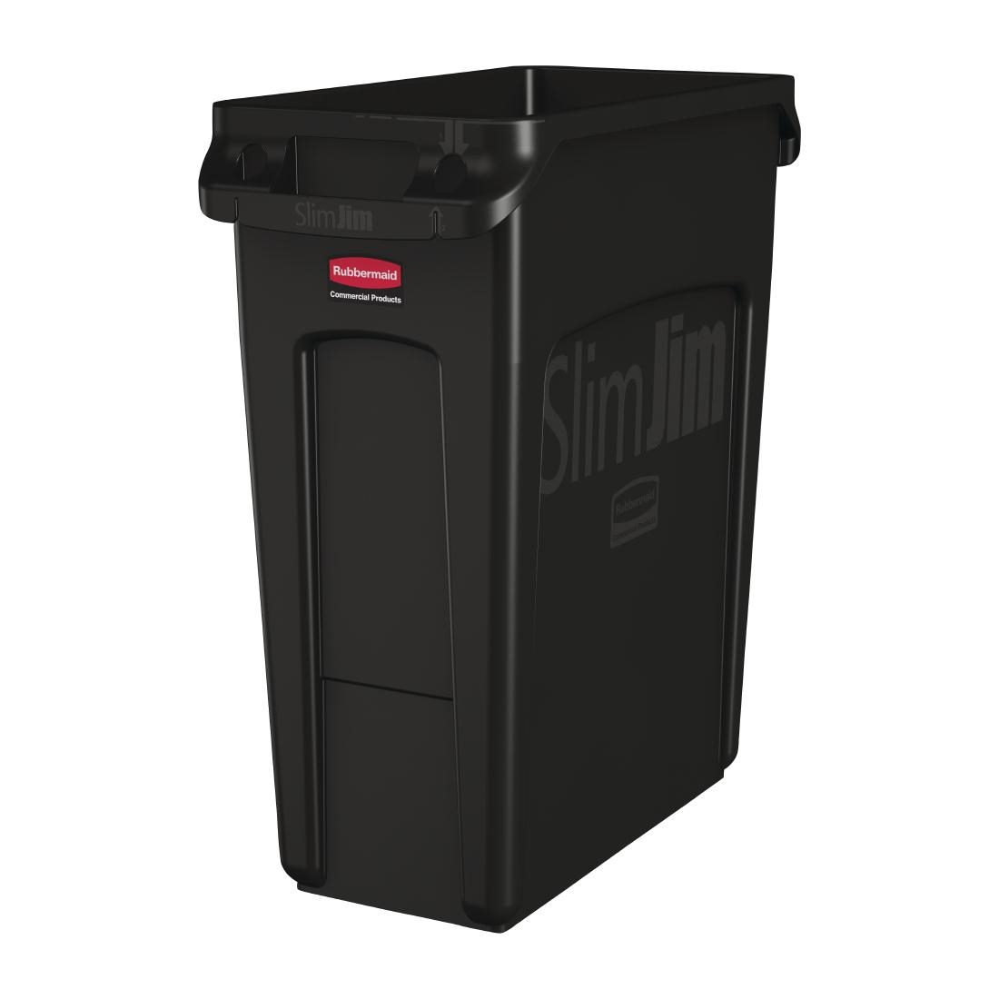Rubbermaid Slim Jim Container with Venting Channels Black 60Ltr