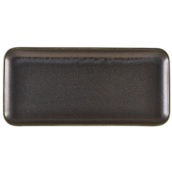 Terra Porcelain Cinder Black Narrow Rectangular Platter 36 x 16.5cm