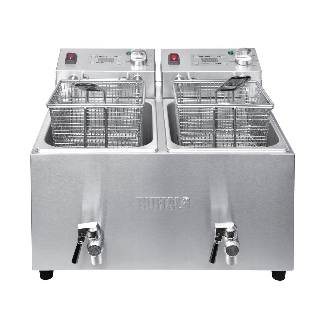 Buffalo Double Fryer - 2x8Ltr 2.9kW with Timer