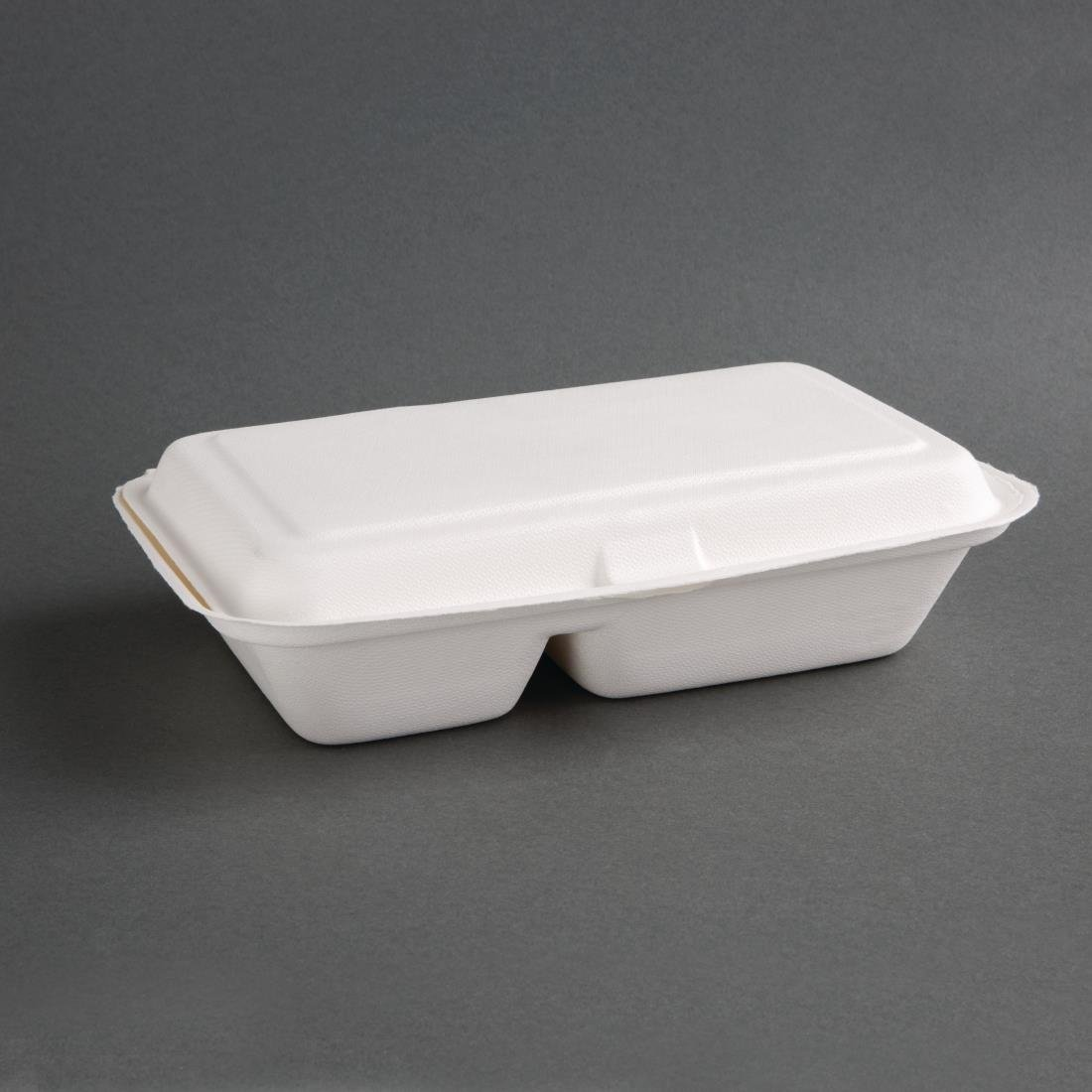 """Fiesta Green 2-Compartment Hinged Bagasse Container - 9x6"""" (Pack 200)"""