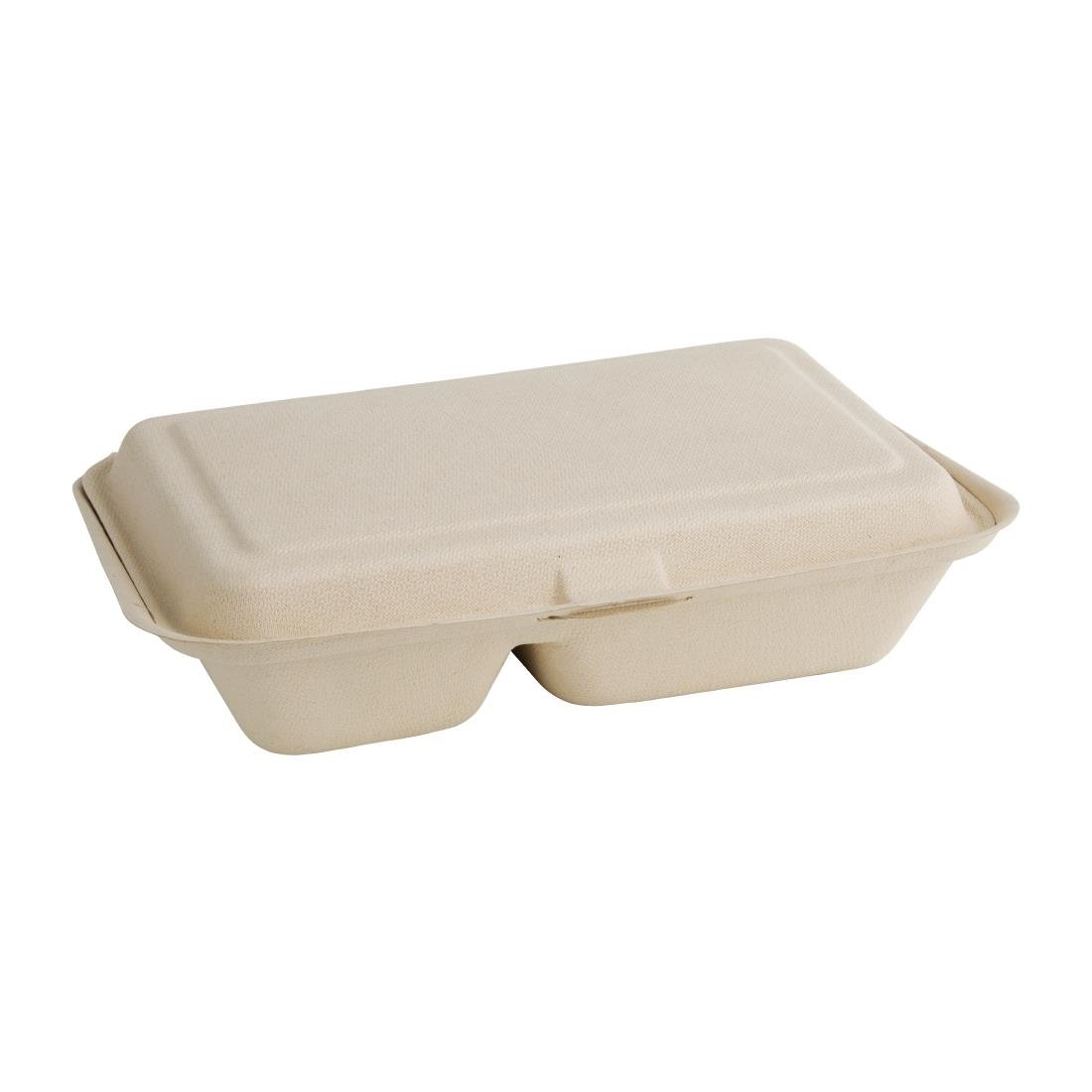 "2-Compartment Hinged Bagasse Container Nat Colour 9x6"" (Pack 250)"