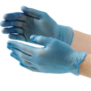 Powered Blue Vinyl Gloves - Size S-L (Box 100)
