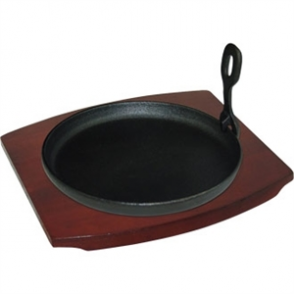 Cast Iron Round Sizzler with Wooden Stand