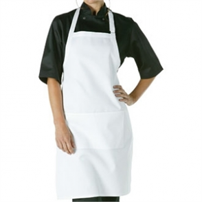 Adjustable Neck Bib Apron White with Pockets