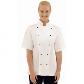 Chef Jacket White, Short Sleeve with Black Stud Buttons