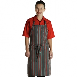 Adjustable Neck Pinstripe Red & Grey Bib Apron