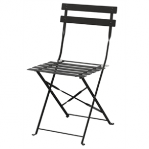Bolero Black Pavement Style Steel Chairs (Pack of 2)