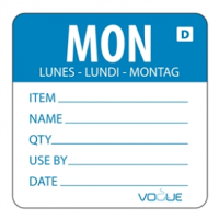 Vogue Blue Dissolvable Monday Labels (Pack of 250)