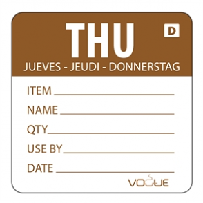 Vogue Brown Dissolvable Thursday Labels (Pack of 250)