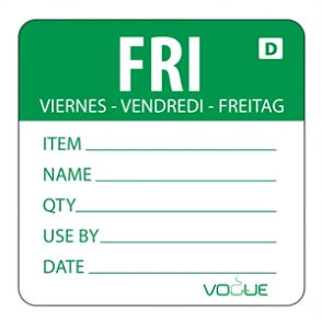 Vogue Green Dissolvable Friday Labels (Pack of 250)
