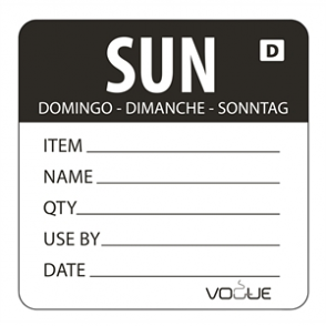 Vogue Black Dissolvable Sunday Labels (Pack of 250)
