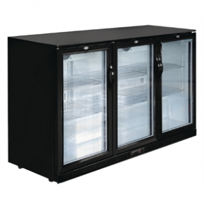 Polar Triple Hinged Door Back Bar Cooler in Black with LED Lighting