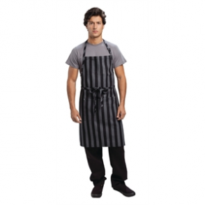 Chef Works Chesapeake Wide Stripe Bib Apron Black