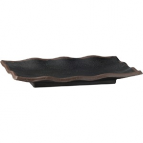 APS Marone Melamine Wavy Tray Black 225x 150mm