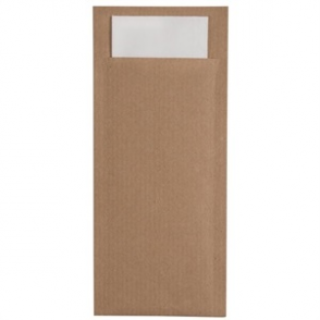Kraft Cutlery Pouch Brown with Grey Napkin (BOX 600)