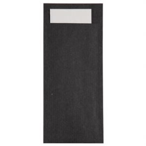 Black Kraft Cutlery Pouch with White Napkin (BOX 600)
