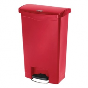 Rubbermaid Slim Step on Front Pedal Red 90Ltr