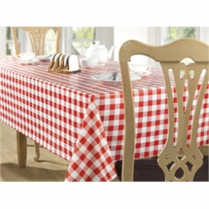 "Red Check Tablecloth 1370 x 2280mm. 54 x 90""."
