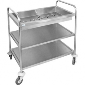 Vogue Deep Tray Clearing Trolley 3 Tier St/St - 855x535x940mm